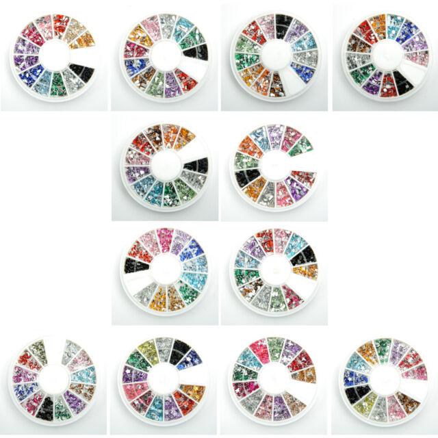 12 colors Round Glitters Tips Nail Art Rhinestones Irregular shape