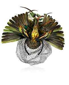 ANNA-DELLO-RUSSO-H-amp-M-AdR-LIMITED-BIRD-FEATHER-NET-HEADPIECE-FASCINATOR-RARE-NEW
