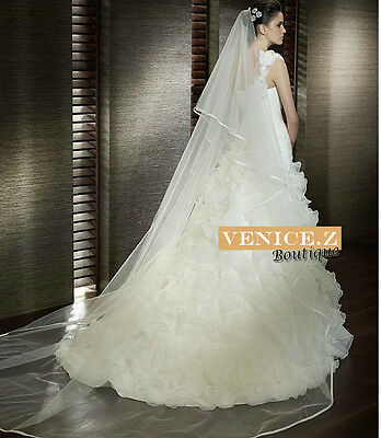 wv11 NEW 3.5m Cathedral Length Wedding Veil 2tier Satin Trim w/Comb White Ivory