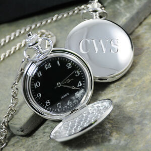 1 Black Face Silver Plated Pocket Watch Personalized Groomsmen Gift Groomsman