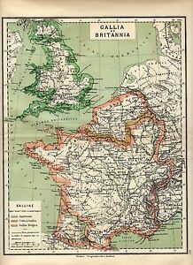 Antique-map-Great-Britain-and-France-Gallia-et-Britannia-carte-1884