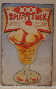 Eat-at-Spiffys-Diner-Metal-Sign-Butterscotch-Ice-Cream-Advertisement-Tin-Sign