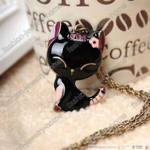 Fashion-bronze-black-cat-necklace-pendant