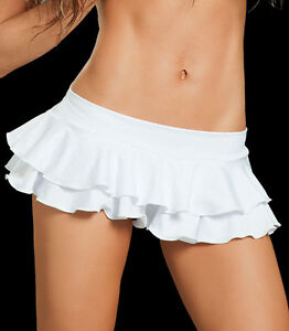 SEXY-WHITE-RUFFLE-MICRO-MINI-SKIRT-ROLLER-DERBY-GOGO-DANCER-OUTFITS-CLOTHES-M-L