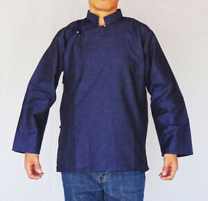 traditional tibetan shirt for or cotton navy
