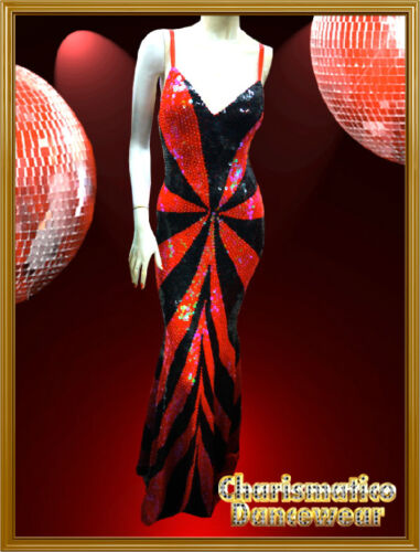 CHARISMATICO Custom RED  DIVA Sequin SHOW Drag queen Transvestite pageant Gown