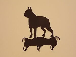 BOSTON-TERRIER-3-HOOK-LEASH-or-KEY-HOLDER-WROUGHT-IRON
