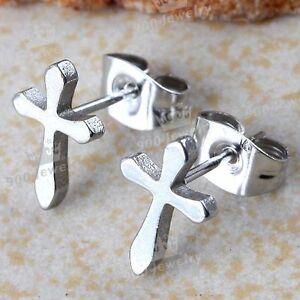 1Pair-Silver-Tone-Stainless-Steel-Christian-Cross-Men-Earring-Ear-Stud-Cool