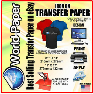 Inkjet dark transfer paper heat press diy t shirt printing for Inkjet t shirt printing