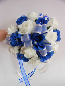Image Is Loading Bridesmaids Wedding Bouquet Royal Blue And Ivory Foam