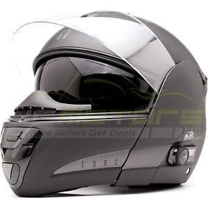 New-Torc-Interstate-T-22B-Helmet-Blinc-Bluetooth-Flat-Black-Size-Medium
