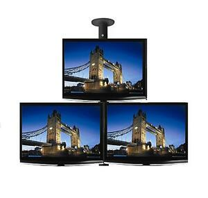 Triple-26-LCD-LED-TV-Monitor-Single-Pole-Ceiling-Mount-Professional-Grade