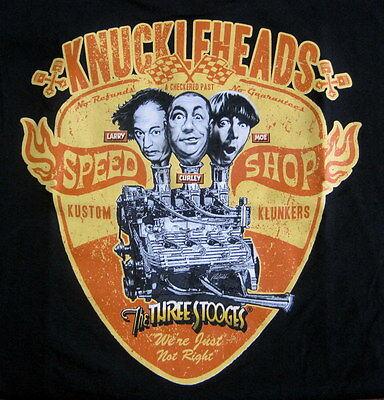 Three Stooges,Knuckleheads by Rick Rietveld,Large,Black,Speed Shop,Flathead,Tee