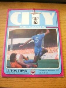 01111977 Manchester City v Luton Town Football League Cup Creased No obvi - <span itemprop=availableAtOrFrom>Birmingham, United Kingdom</span> - Returns accepted within 30 days after the item is delivered, if goods not as described. Buyer assumes responibilty for return proof of postage and costs. Most purchases from business s - Birmingham, United Kingdom