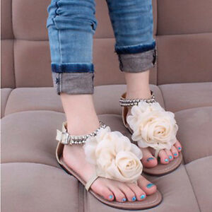 Rome-Womens-Beading-Sweet-Flower-Flat-Thongs-Sandals-Flip-Flops-Shoes-Casual-1lt