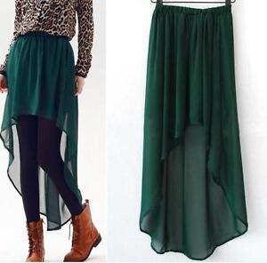 Sexy-Asym-Hem-Chiffon-Skirt-Ladies-Long-Maxi-Dress-Elastic-Waist-3-COLORS-O