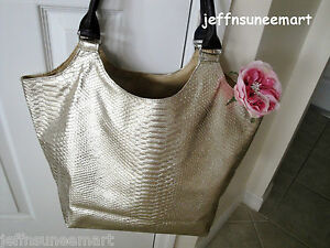 NEW-NEIMAN-MARCUS-METALLIC-GOLD-FAUX-SNAKESKIN-Tote-Purse-Bag-Large-with-Tag