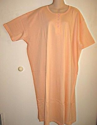 ~NEW~PEACH HENLEY LONG COTTON NIGHTSHIRT O/S FITS 1X-3X