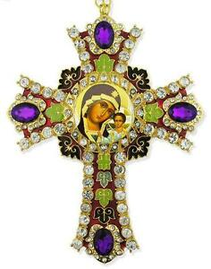 Madonna-amp-Child-Jesus-Purple-Stones-Jeweled-Russian-Icon-Wall-Cross-WOW-NEW-6-034