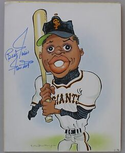Caricature-Painting-Signed-By-WILLIE-MAYS-1970-039-s