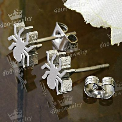 Spider Stainless Steel Ear Earring Studs New Nice 2PCS