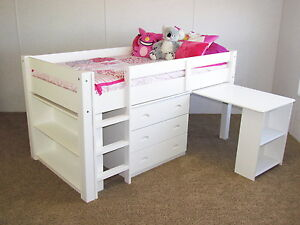 Best Quality White Twin Low Loft Bunk Bed Desk Chest