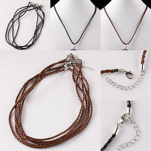 PU-Leather-Skinny-Braided-Cord-Rope-Clasp-Adjustable-Chain-Necklace-Fit-EP-Beads