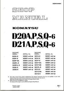 komatsu bulldozer d21p 6 d21p 6 service repair shop manual. Black Bedroom Furniture Sets. Home Design Ideas