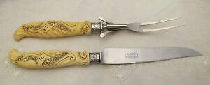 1920-039-S-CARVING-SET-STERLING-FAUX-CARVED-IVORY-UNIVERSAL-RESISTAIN-STAINLESS-USA