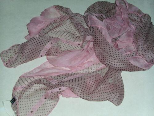 Bnwt-fabulous-100/% silk-polka DOT e volant Sciarpe Con Borchie /& Dettaglio Cristallo