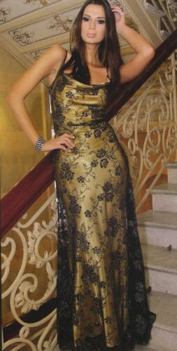 Long Elegant Ladies Gown Cocktail Party Evening Lace Prom Maxi Dress UK 8-18