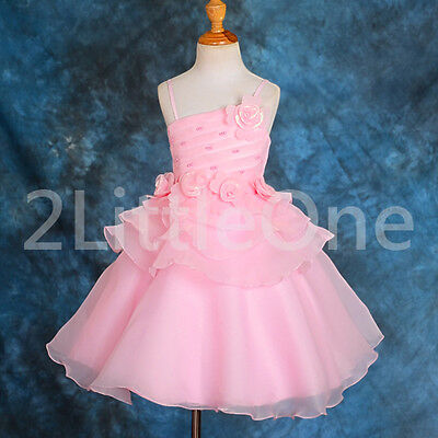 Wedding Flower Girl Dress + Shawl Pageant Party Holiday Occasion Size 2T-6 FG168