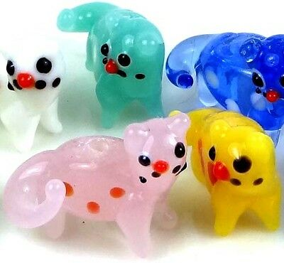 Lampwork Handmade Colorful Cats Beads 20x25mm
