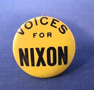 "Rare Vtg Political Pin Pinback Button Voices for Nixon 1-1/4"" President Campaign"