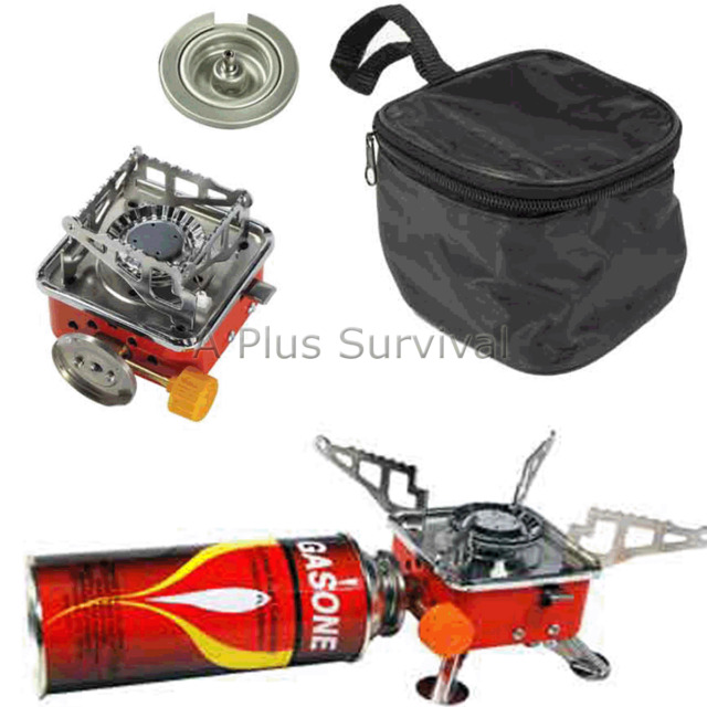 Portable Butane Gas Emergency Survival Compact Kit Camping Stove with Case