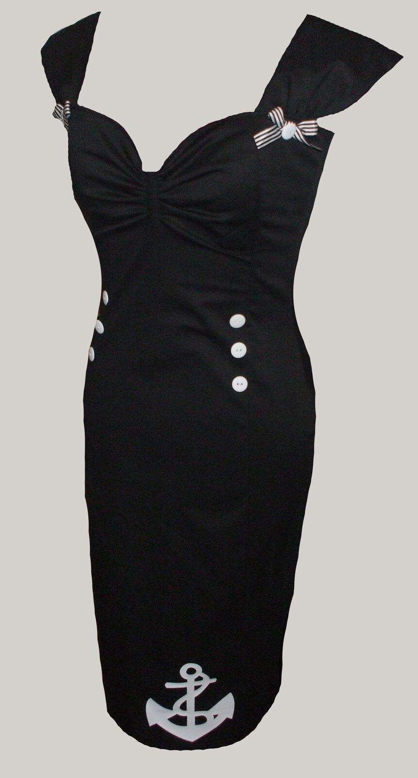 nero nero nero Nautico Marinaio Abito Marilyn anni'50 Rockabilly 8-20 e8f9c7