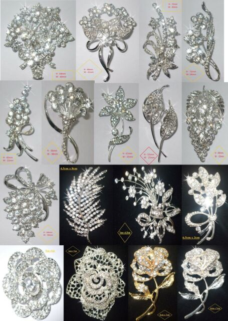 Floral flower fashion brooch broach pin badge crystal diamante wedding bridal