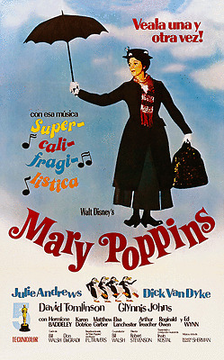 """MARY POPPINS- Julie Andrews - 24""""x36"""" Giclee on Canvas Classic Movie Poster"""