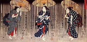 Ladies in Rain 15x22 Japanese Print by Kuniyoshi Asian Art Japan Ltd. Edition