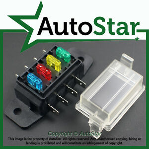 4 way mini blade fuse box holder atm apm circuit motorbike quad image is loading 4 way mini blade fuse box holder atm