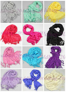 Pretty-Women-039-s-Silk-amp-Cotton-Oblong-Soft-Scarf-Wrap-Shawl-With-Fringe-Free-Choose