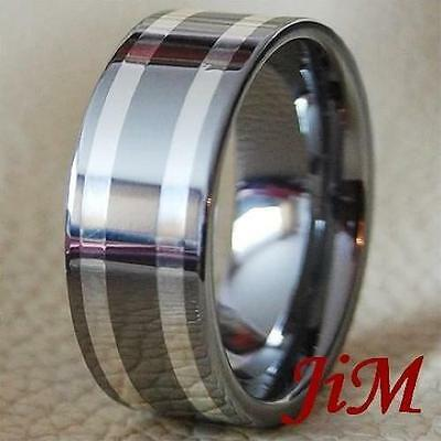 Tungsten Silver Inlay Ring Mens Wedding Band Titanium Color Size 6-15