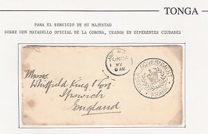 Tonga: Official cancellation in cover to England. rare. TG082