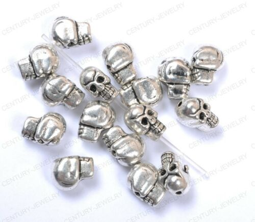 NP41 Wholesale 10pcs Tibetan Silver Skull Spacer Charms Beads 10X8MM