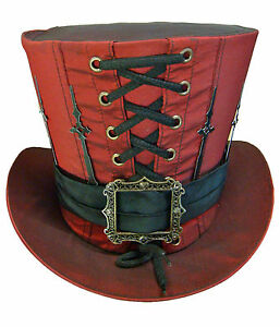 Steampunk-madhatter-Hand-made-red-colour-Taffeta-Top-Hat-with-clock-hands