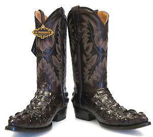Alligator Head Design Leather Cowboy Western J Toe Boots Brown EBay