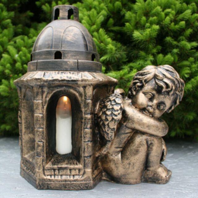 Bronze GRAB ENGEL FIGUR Grablampe Grablaterne Grablicht Grabschmuck Frostfest