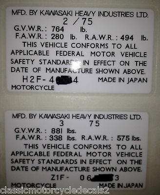KAWASAKI Z1 900 Z1A 900 Z1B 900 H1D USA HEADSTOCK FRAME DECAL RESTORATION DECAL
