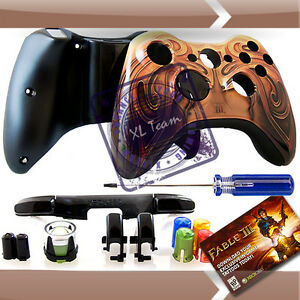 XBOX-360-FABLE-3-WIRELESS-CONTROLLER-REPLACEMENT-SHELL-TATTO-DLC-T8-SCREWDRIVER
