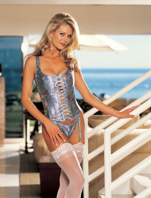Blue Raised Floral Print Princess Line Lace Up Bustier G-string Bra Sz 38 29019